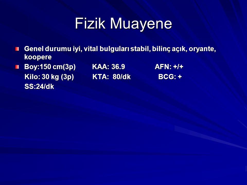 Fizik Muayene Genel durumu iyi, vital bulguları stabil, bilinç açık, oryante, koopere. Boy:150 cm(3p) KAA: 36.9 AFN: +/+