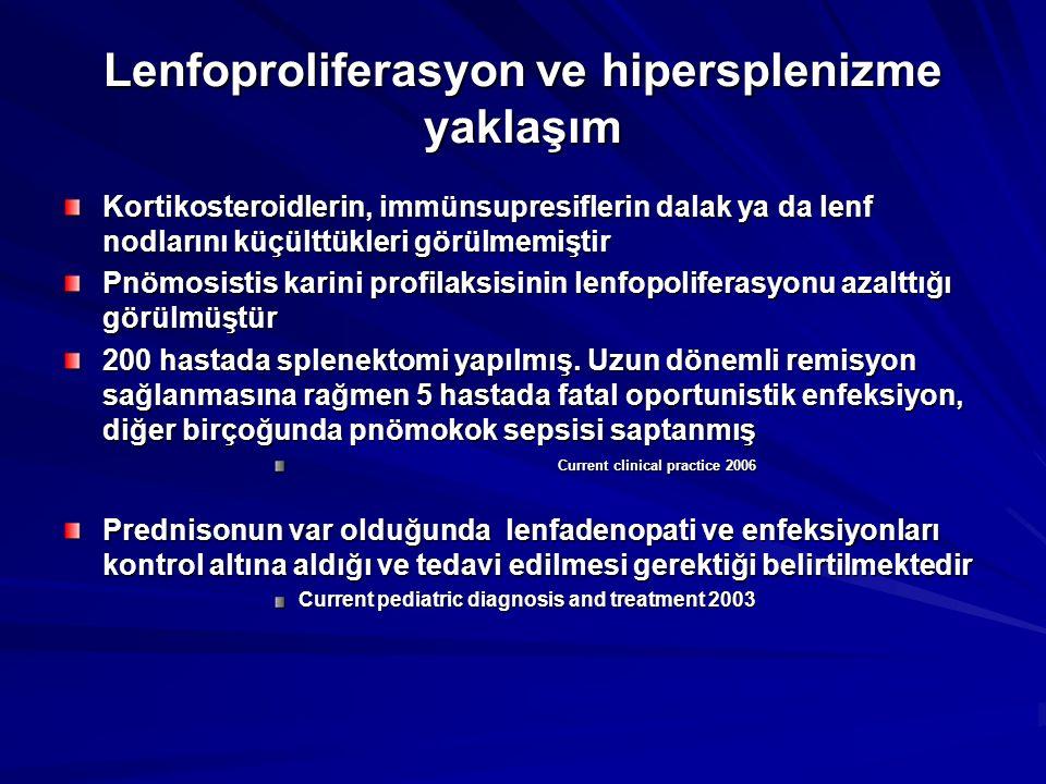 Lenfoproliferasyon ve hipersplenizme yaklaşım