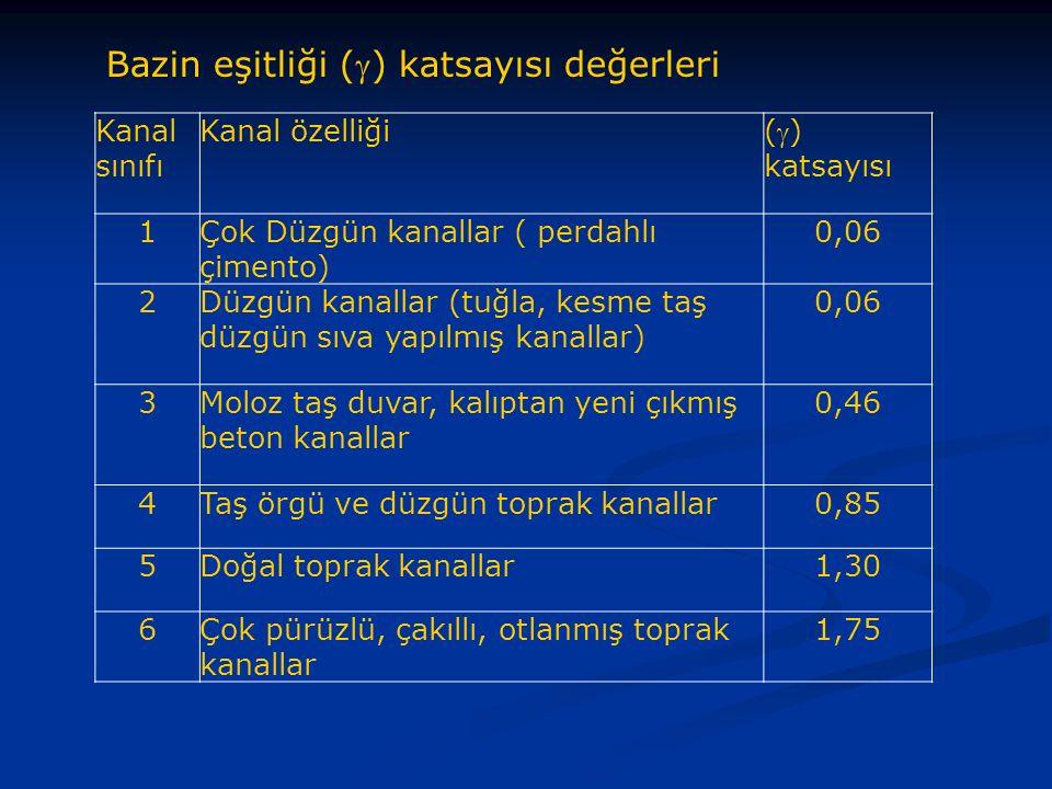 Bazin eşitliği () katsayısı değerleri