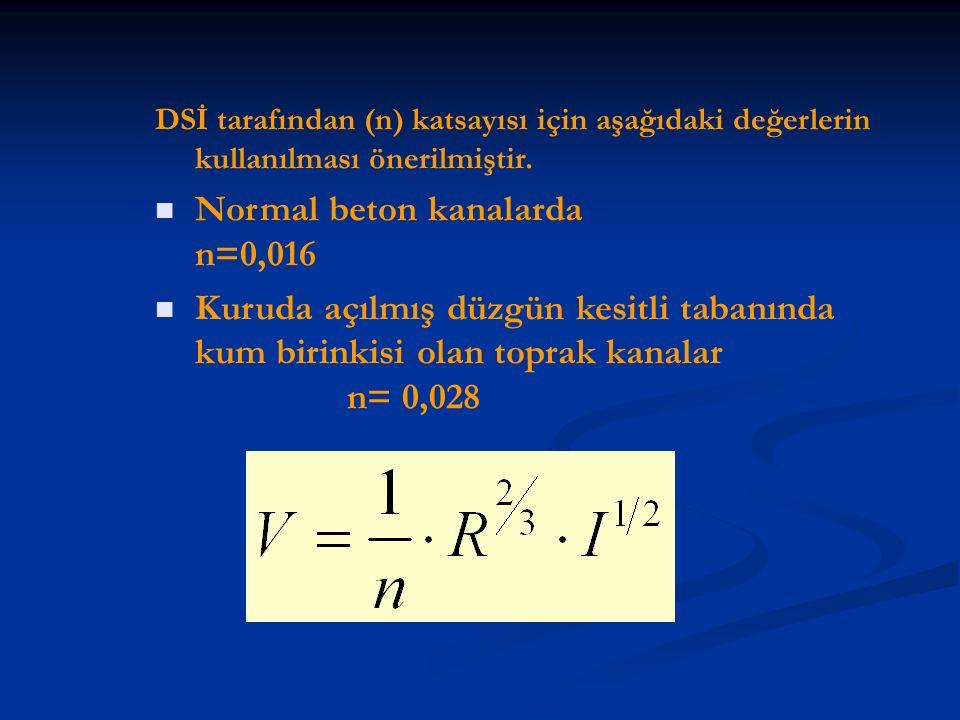 Normal beton kanalarda n=0,016