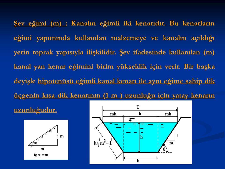 Şev eğimi (m) : Kanalın eğimli iki kenarıdır