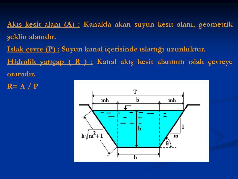 Akış kesit alanı (A) : Kanalda akan suyun kesit alanı, geometrik şeklin alanıdır.