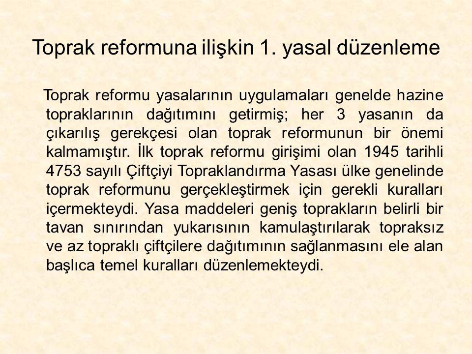 Toprak reformuna ilişkin 1. yasal düzenleme