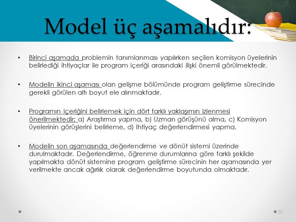 Model üç aşamalıdır: