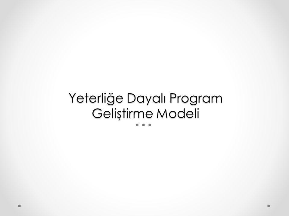 Yeterliğe Dayalı Program Geliştirme Modeli