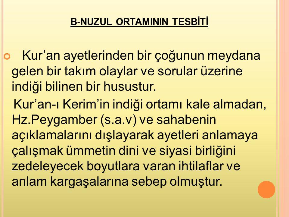 B-NUZUL ORTAMININ TESBİTİ