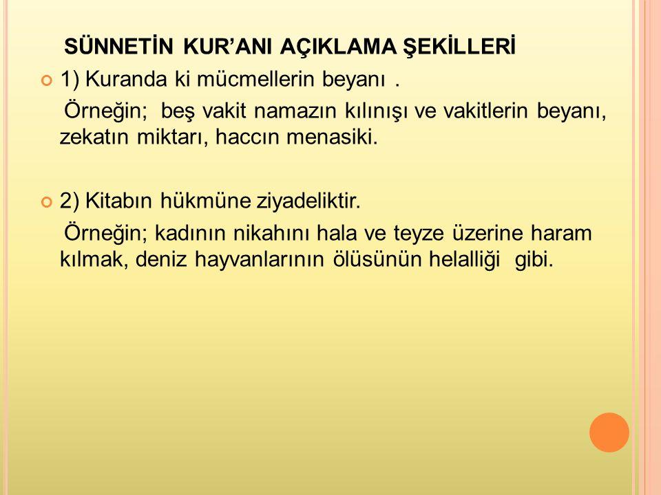 SÜNNETİN KUR'ANI AÇIKLAMA ŞEKİLLERİ