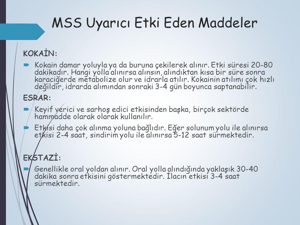 MSS Uyarıcı Etki Eden Maddeler