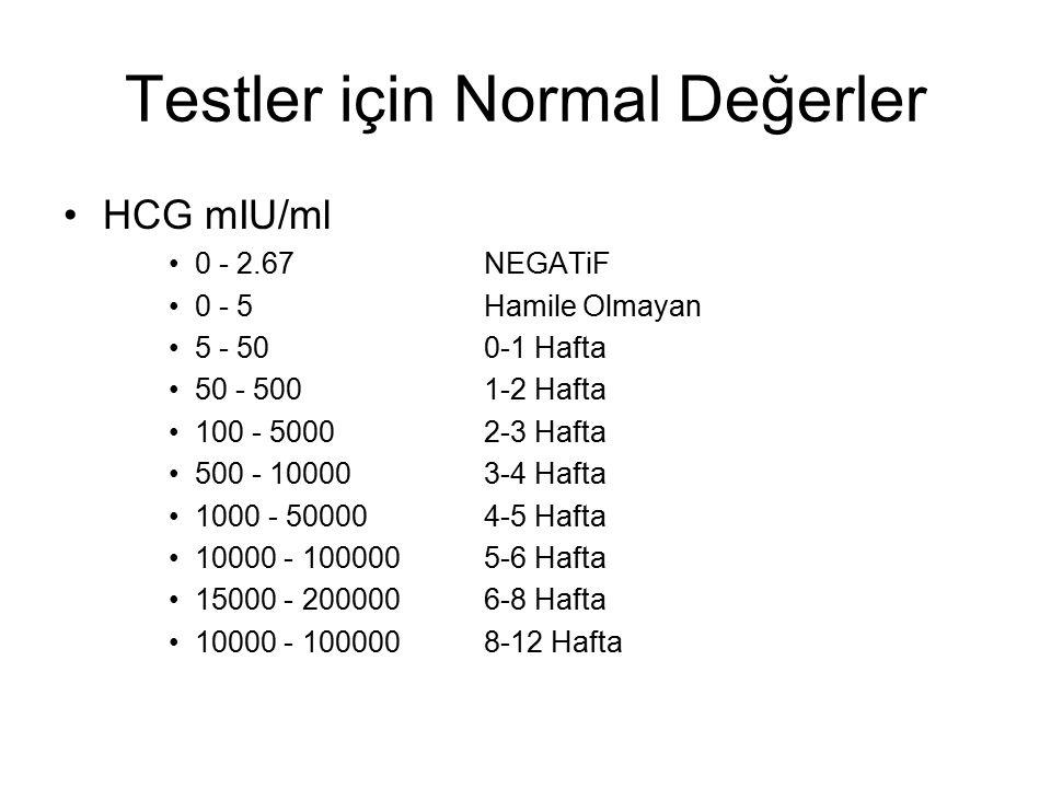 Testler için Normal Değerler