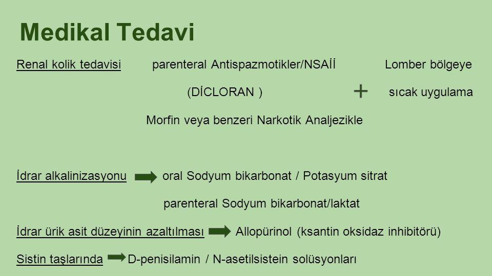 Medikal Tedavi Renal kolik tedavisi parenteral Antispazmotikler/NSAİİ Lomber bölgeye.