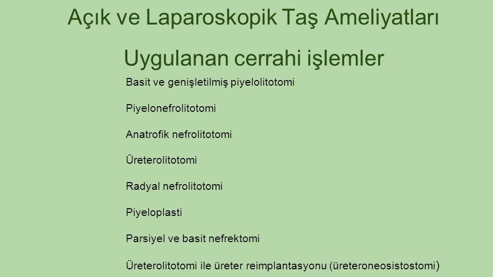 Açık ve Laparoskopik Taş Ameliyatları Uygulanan cerrahi işlemler