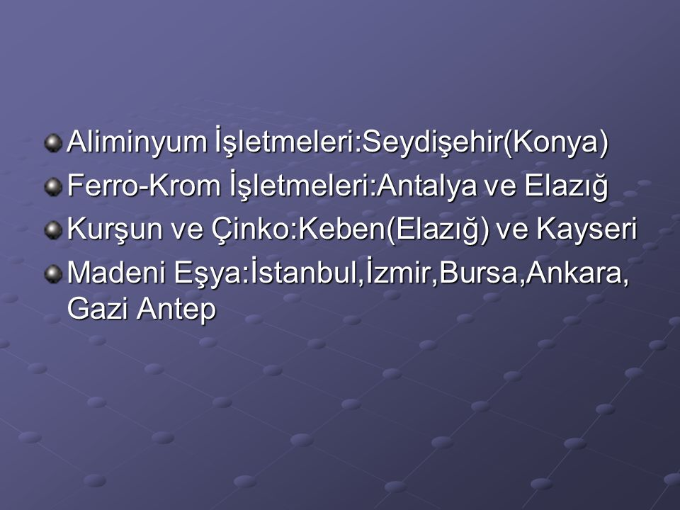 Aliminyum İşletmeleri:Seydişehir(Konya)