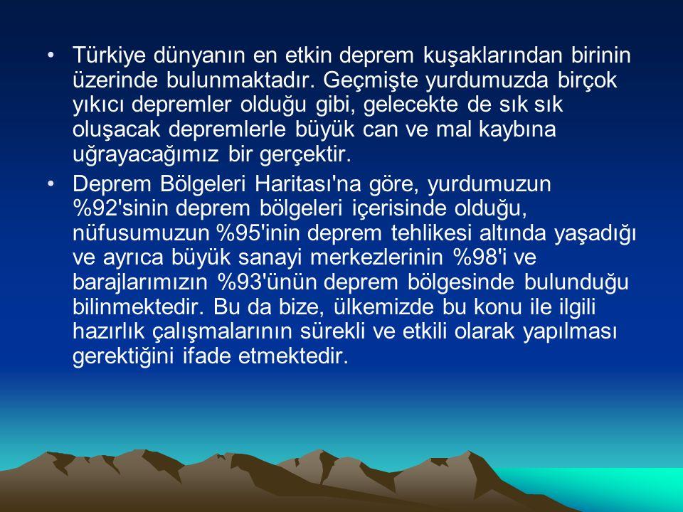 Türkiye dünyanın en etkin deprem kuşaklarından birinin üzerinde bulunmaktadır. Geçmişte yurdumuzda birçok yıkıcı depremler olduğu gibi, gelecekte de sık sık oluşacak depremlerle büyük can ve mal kaybına uğrayacağımız bir gerçektir.