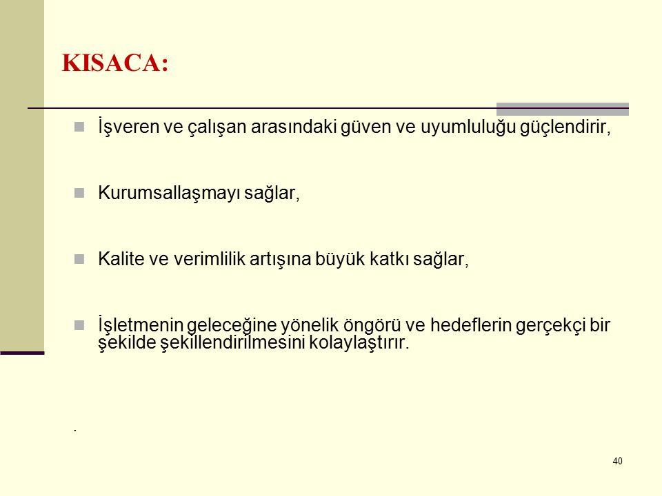 KISACA: İşveren ve çalışan arasındaki güven ve uyumluluğu güçlendirir,