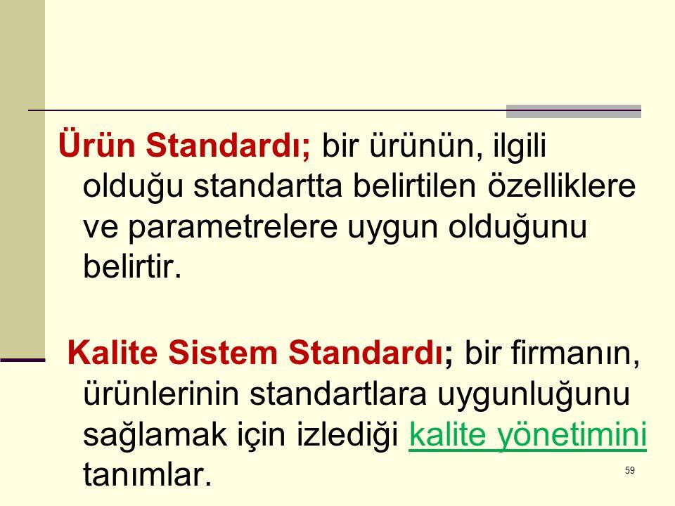 Ürün Standardı; bir ürünün, ilgili olduğu standartta belirtilen özelliklere ve parametrelere uygun olduğunu belirtir.
