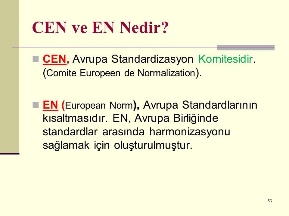 CEN ve EN Nedir CEN, Avrupa Standardizasyon Komitesidir. (Comite Europeen de Normalization).