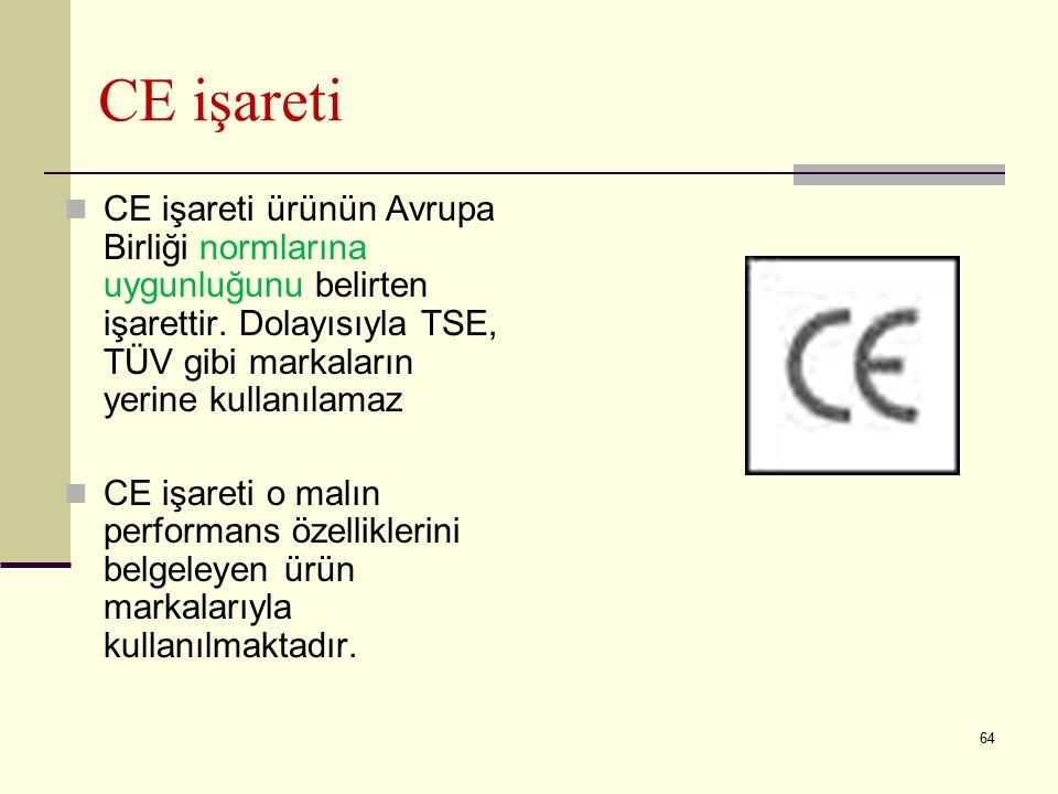 CE işareti CE işareti ürünün Avrupa Birliği normlarına uygunluğunu belirten işarettir. Dolayısıyla TSE, TÜV gibi markaların yerine kullanılamaz.