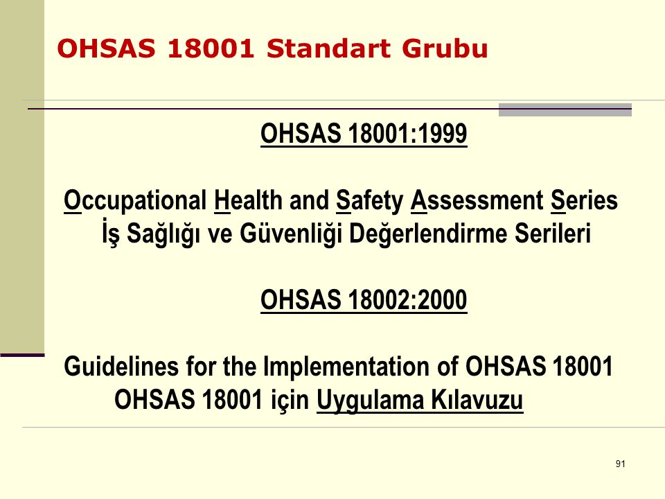 Occupational Health and Safety Assessment Series