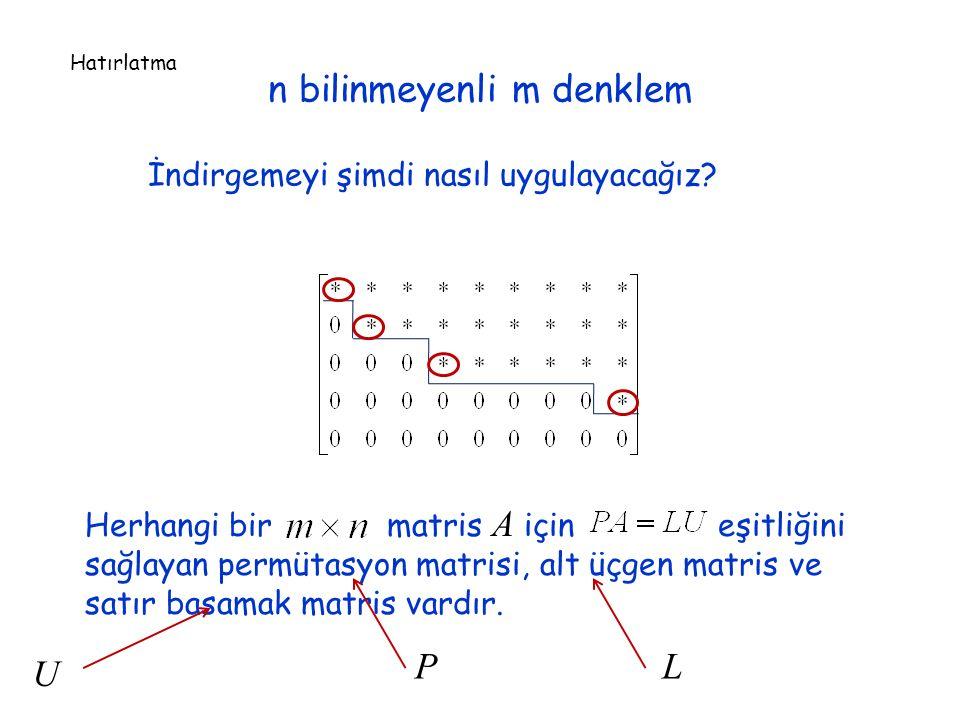 n bilinmeyenli m denklem