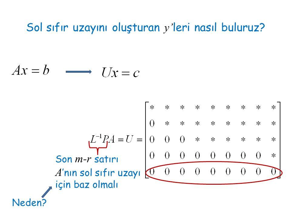 Sol sıfır uzayını oluşturan y'leri nasıl buluruz