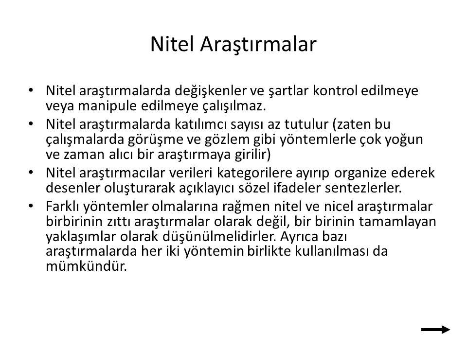Nitel Araştırmalar Nitel araştırmalarda değişkenler ve şartlar kontrol edilmeye veya manipule edilmeye çalışılmaz.