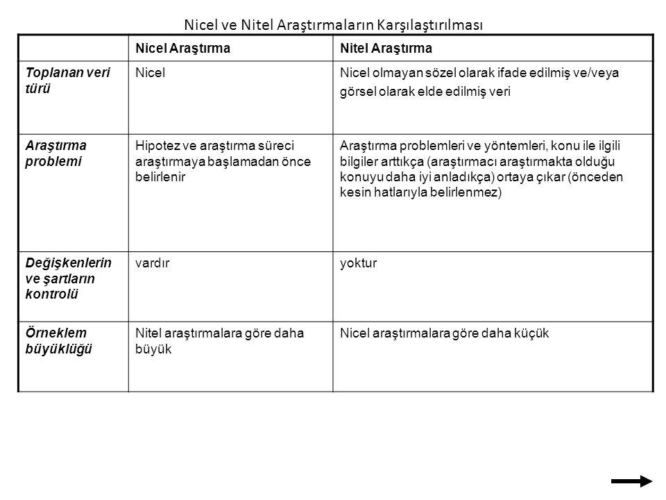 Nicel ve Nitel Araştırmaların Karşılaştırılması