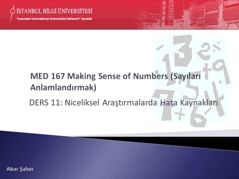 MED 167 Making Sense of Numbers (Sayıları Anlamlandırmak)