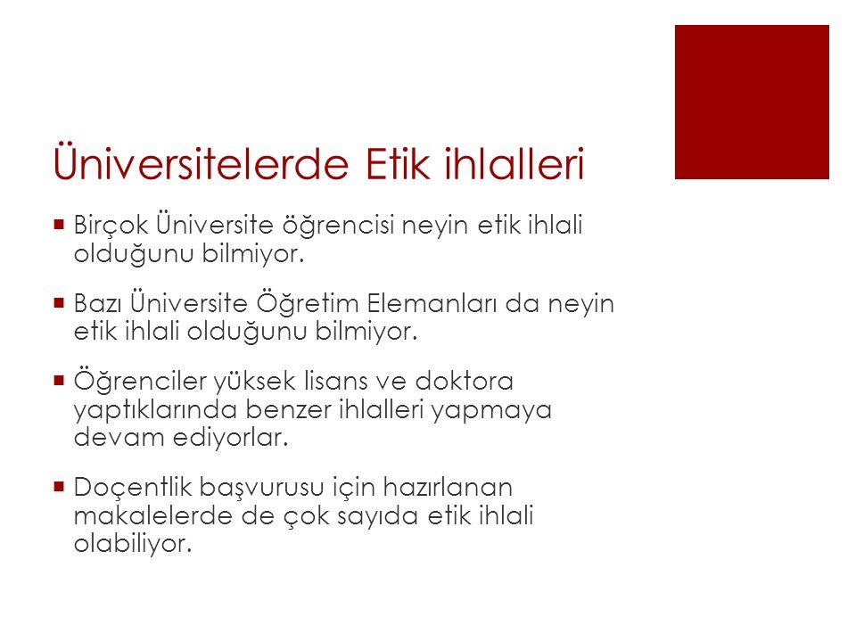 Üniversitelerde Etik ihlalleri
