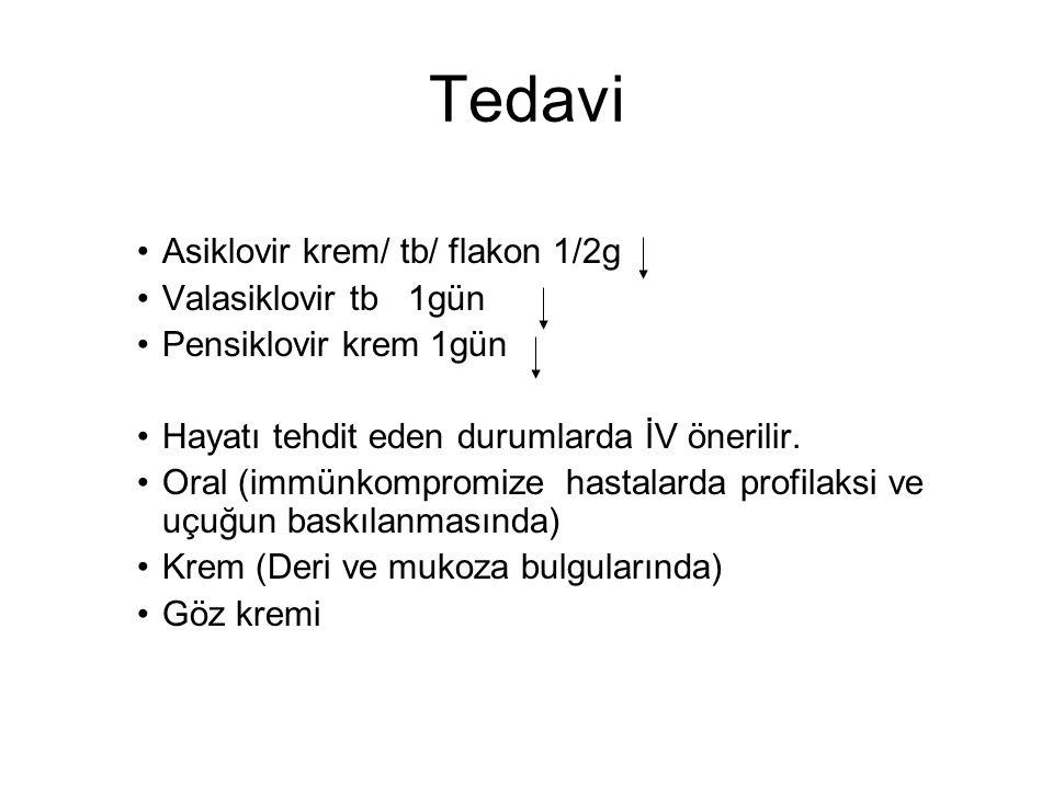 Tedavi Asiklovir krem/ tb/ flakon 1/2g Valasiklovir tb 1gün
