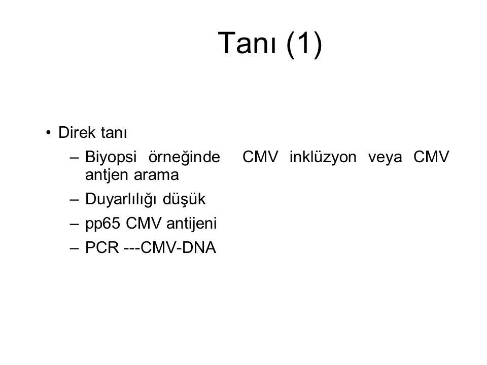 Tanı (1) Direk tanı. Biyopsi örneğinde CMV inklüzyon veya CMV antjen arama. Duyarlılığı düşük. pp65 CMV antijeni.