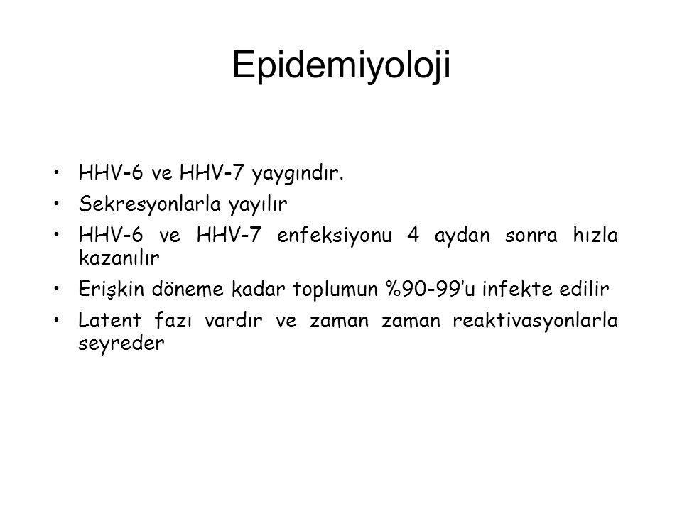 Epidemiyoloji HHV-6 ve HHV-7 yaygındır. Sekresyonlarla yayılır