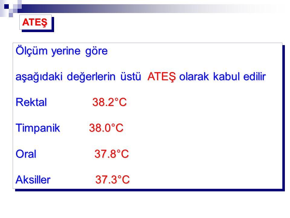 aşağıdaki değerlerin üstü ATEŞ olarak kabul edilir Rektal 38.2°C