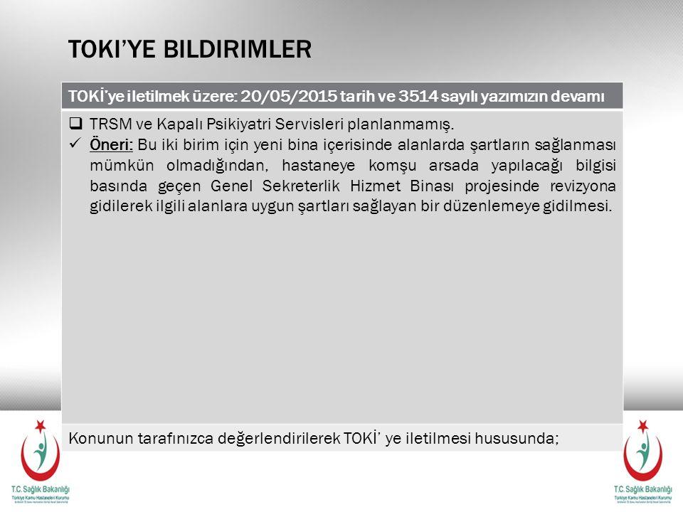 Toki'ye bildirimler TOKİ'ye iletilmek üzere: 20/05/2015 tarih ve 3514 sayılı yazımızın devamı. TRSM ve Kapalı Psikiyatri Servisleri planlanmamış.