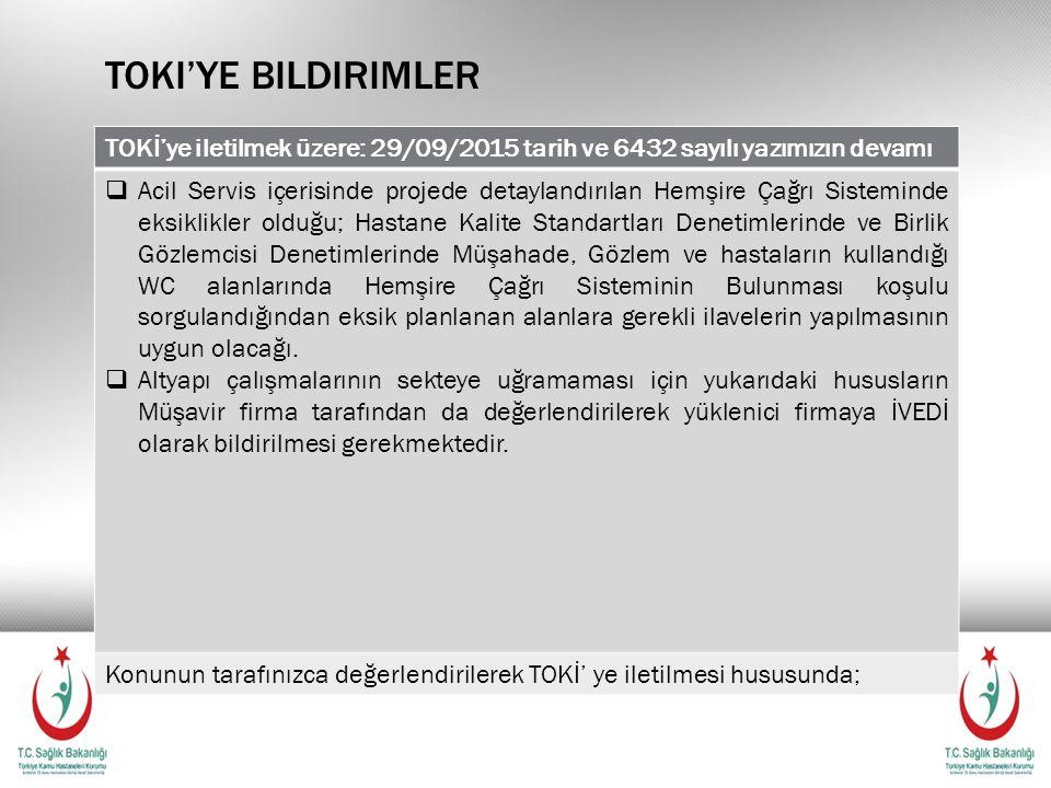 Toki'ye bildirimler TOKİ'ye iletilmek üzere: 29/09/2015 tarih ve 6432 sayılı yazımızın devamı.