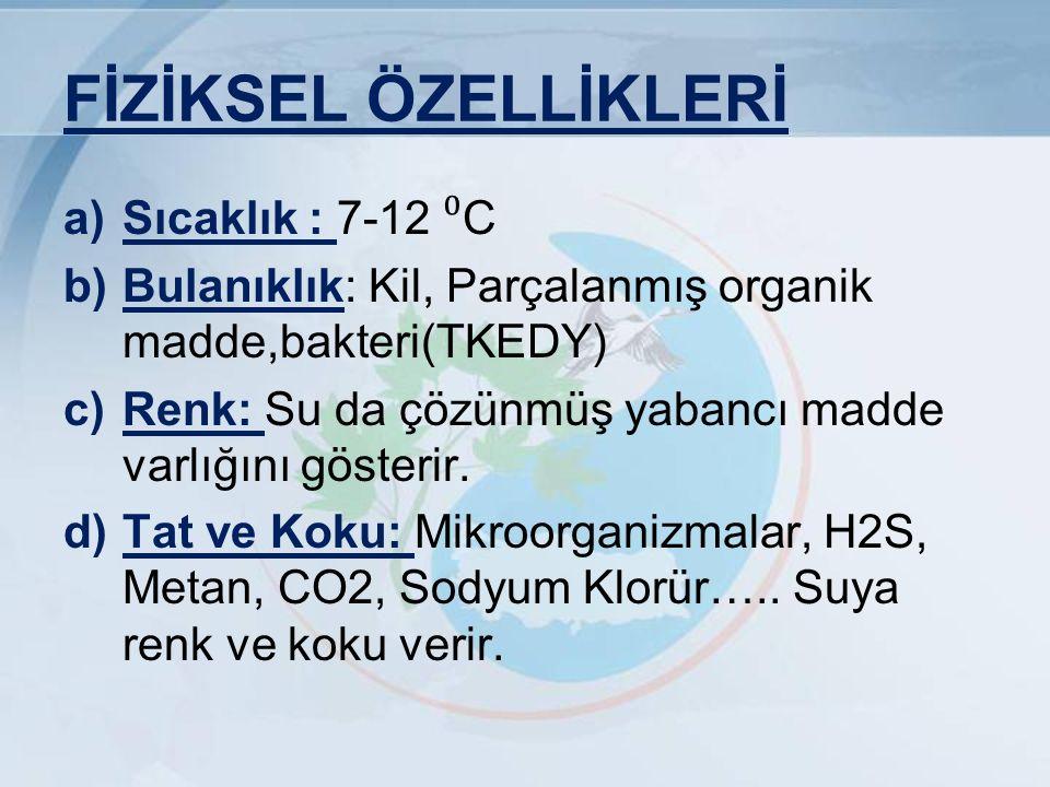 FİZİKSEL ÖZELLİKLERİ Sıcaklık : 7-12 ⁰C