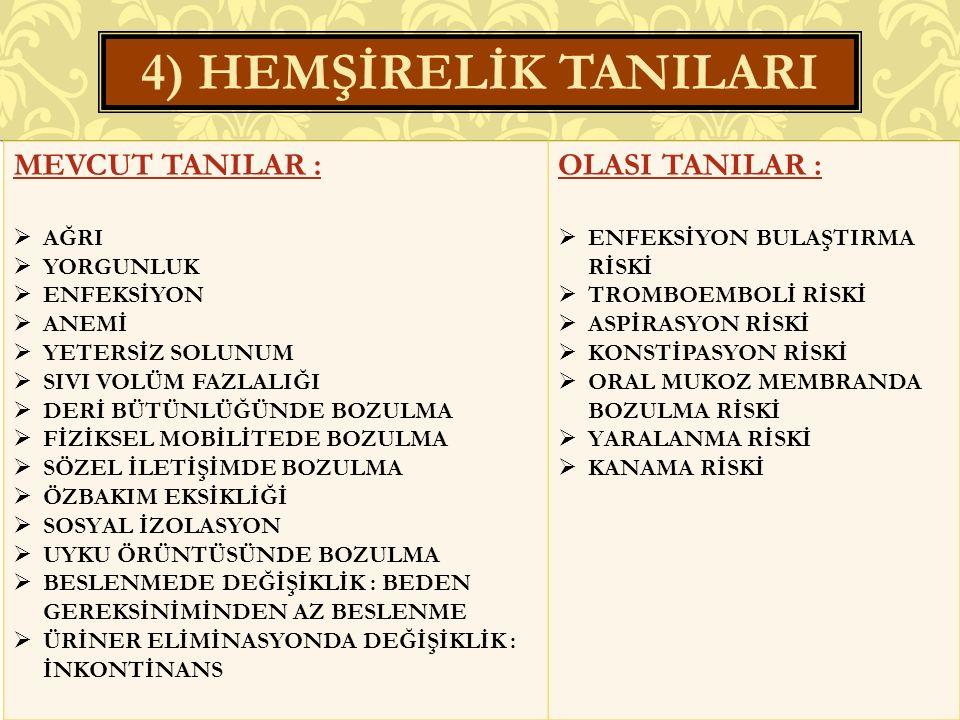4) HEMŞİRELİK TANILARI MEVCUT TANILAR : OLASI TANILAR : AĞRI YORGUNLUK