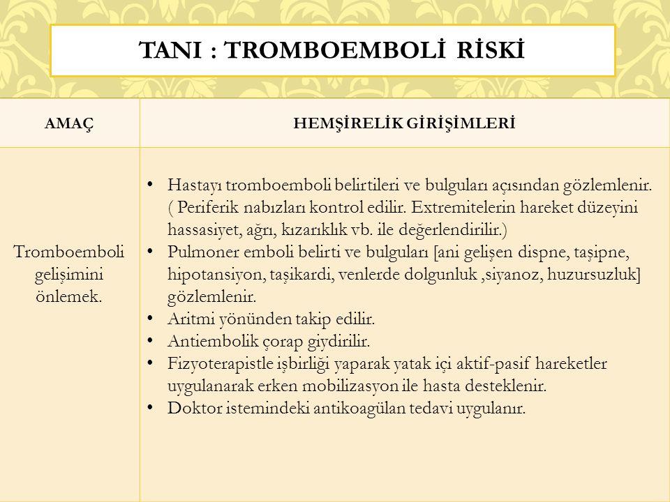 TANI : tromboembolİ rİSKİ