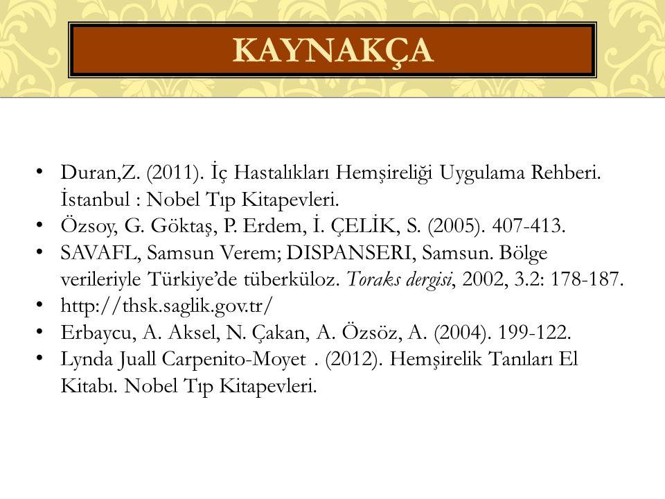 Kaynakça Duran,Z. (2011). İç Hastalıkları Hemşireliği Uygulama Rehberi. İstanbul : Nobel Tıp Kitapevleri.