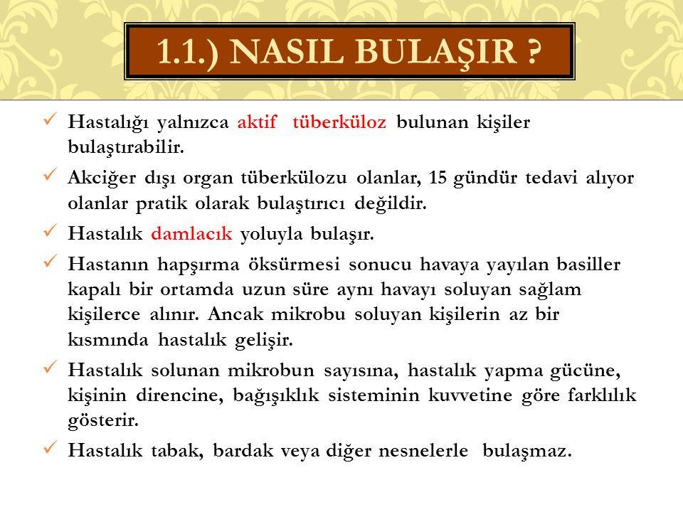 1.1.) NASIL BULAŞIR Hastalığı yalnızca aktif tüberküloz bulunan kişiler bulaştırabilir.