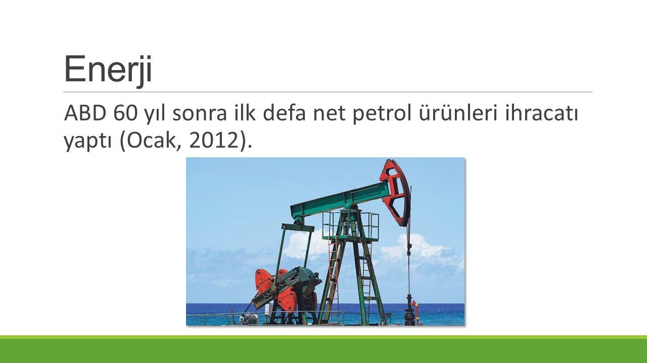 Enerji ABD 60 yıl sonra ilk defa net petrol ürünleri ihracatı yaptı (Ocak, 2012).