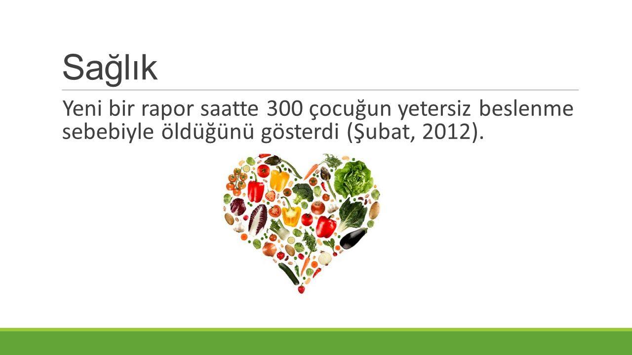 Sağlık Yeni bir rapor saatte 300 çocuğun yetersiz beslenme sebebiyle öldüğünü gösterdi (Şubat, 2012).