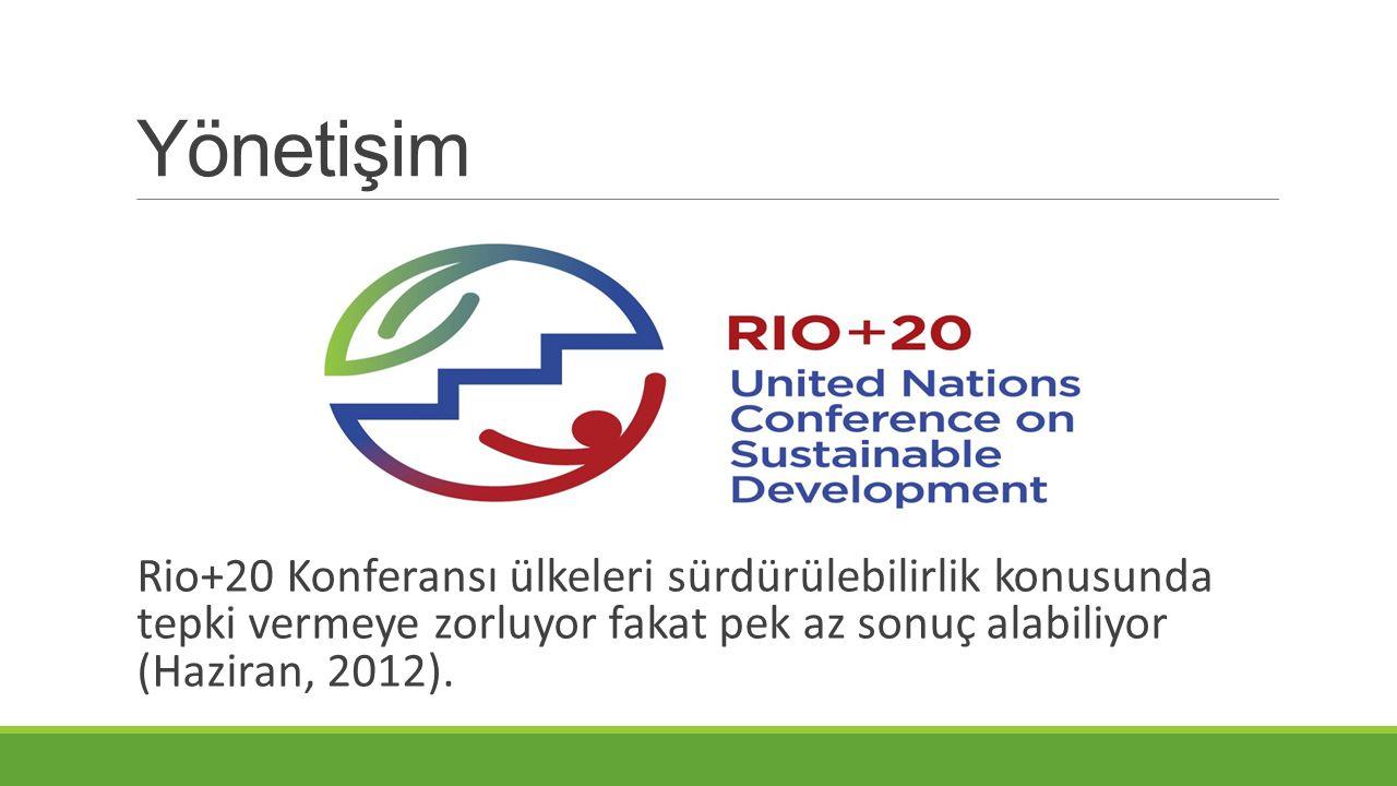 Yönetişim Rio+20 Konferansı ülkeleri sürdürülebilirlik konusunda tepki vermeye zorluyor fakat pek az sonuç alabiliyor (Haziran, 2012).
