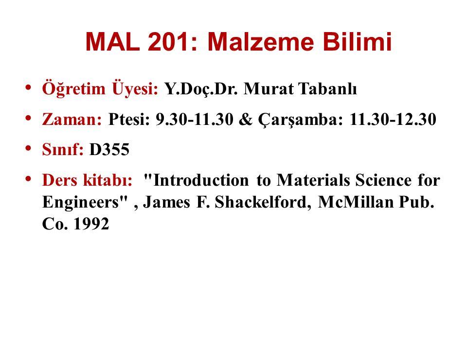MAL 201: Malzeme Bilimi Öğretim Üyesi: Y.Doç.Dr. Murat Tabanlı