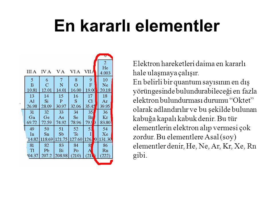 En kararlı elementler Elektron hareketleri daima en kararlı hale ulaşmaya çalışır.