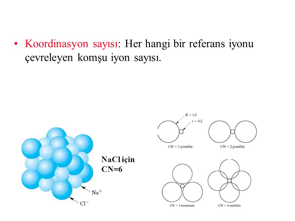 Koordinasyon sayısı: Her hangi bir referans iyonu çevreleyen komşu iyon sayısı.