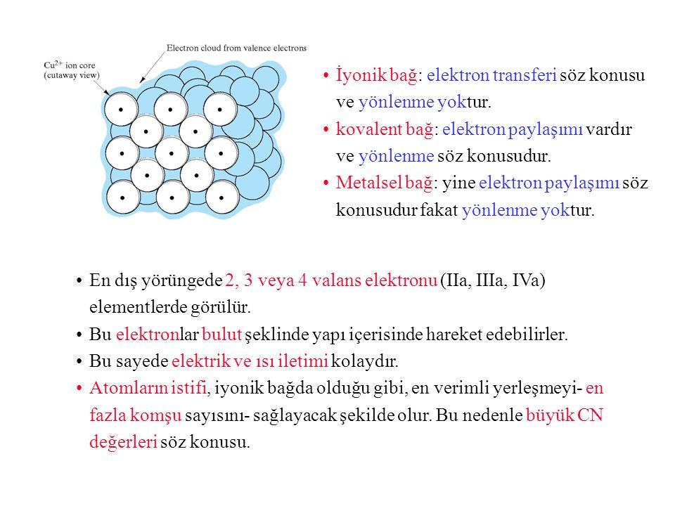 İyonik bağ: elektron transferi söz konusu ve yönlenme yoktur.