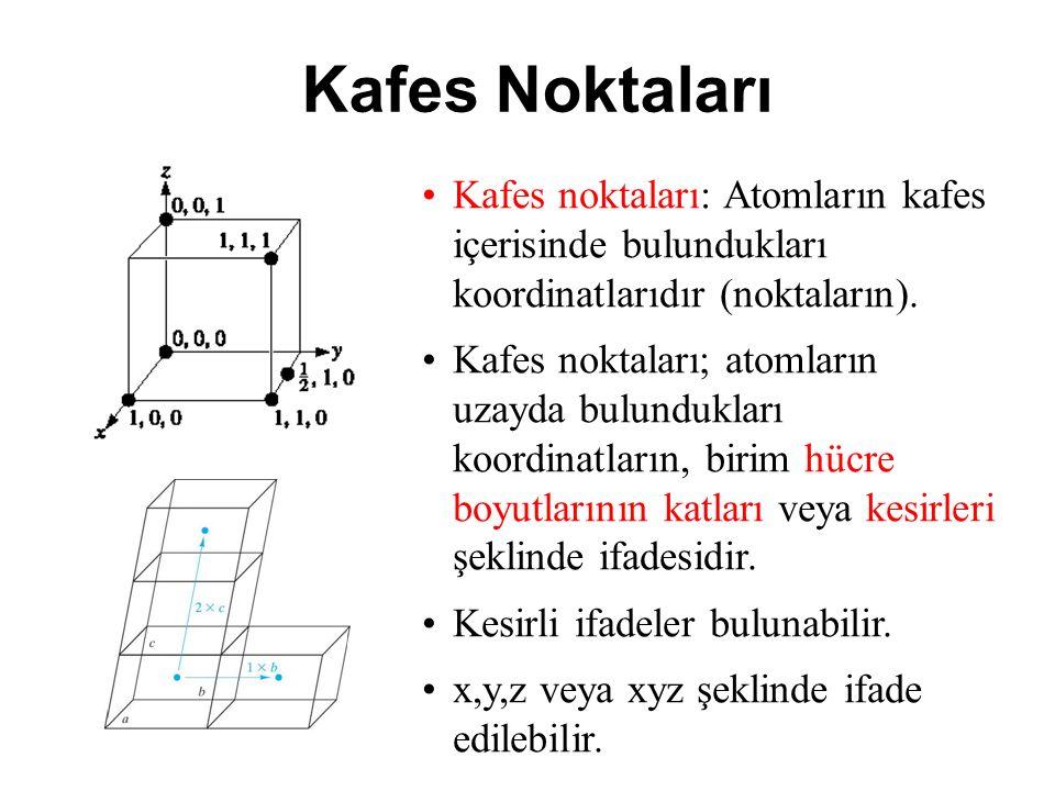 Kafes Noktaları Kafes noktaları: Atomların kafes içerisinde bulundukları koordinatlarıdır (noktaların).
