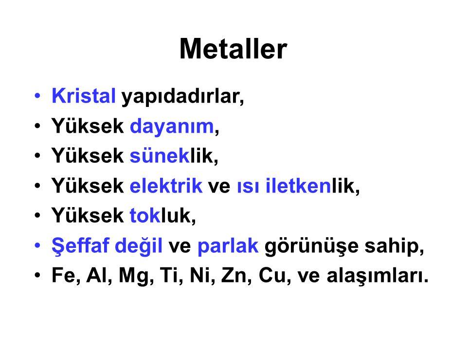 Metaller Kristal yapıdadırlar, Yüksek dayanım, Yüksek süneklik,