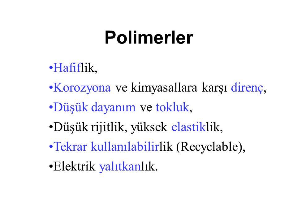 Polimerler Hafiflik, Korozyona ve kimyasallara karşı direnç,