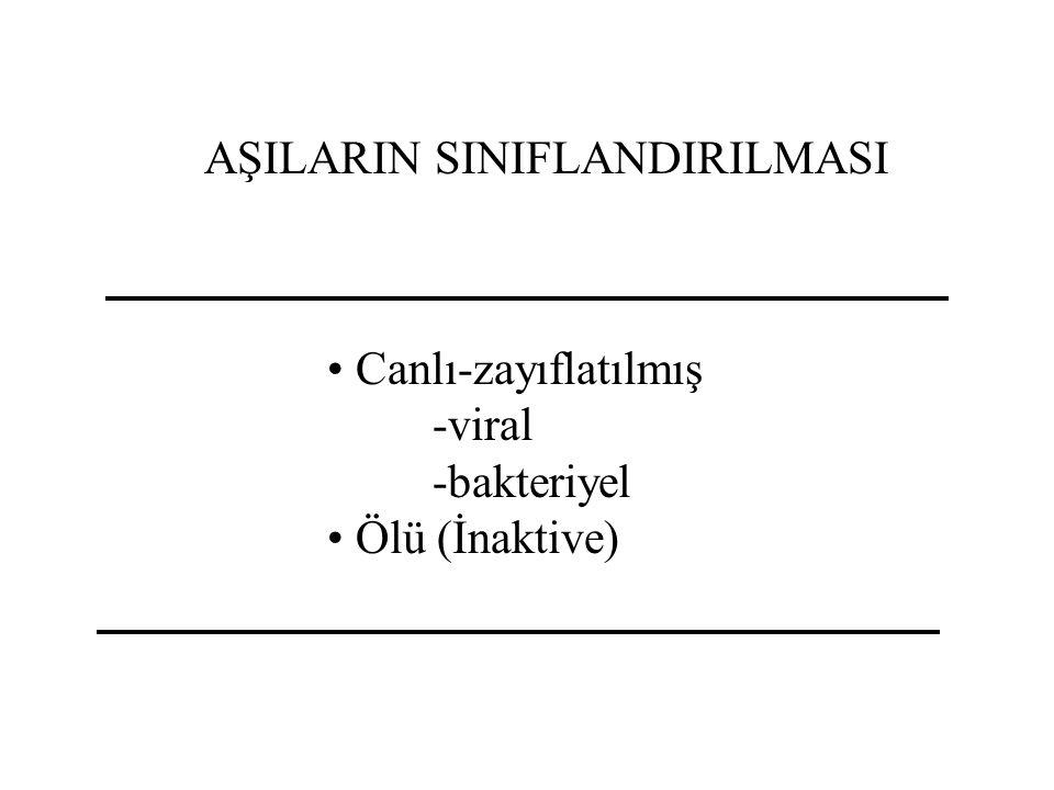 AŞILARIN SINIFLANDIRILMASI